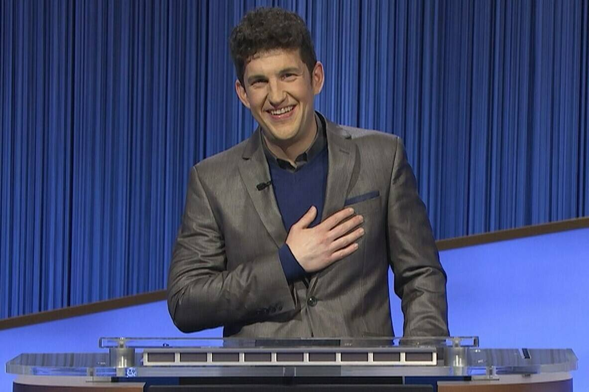 """This photo provided by Jeopardy Productions Inc. shows """"Jeopardy!"""" contestant Matt Amodio during a taping of the popular game show. Amodio's historic run on """"Jeopardy!"""" ended on Monday's show, leaving the Yale doctoral student with 38 wins and more than $1.5 million in prize money. (Jeopardy Productions Inc. via AP)"""