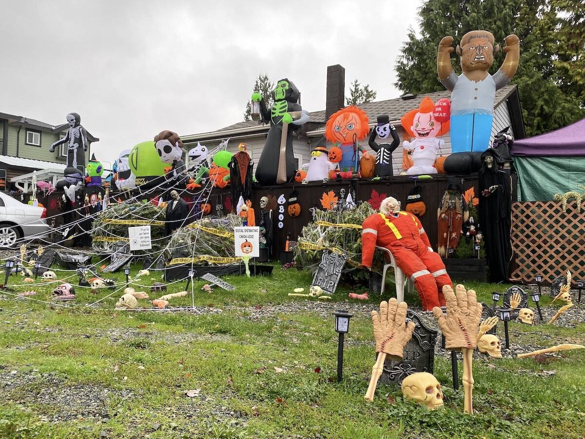 The Desjarlais/Wong family home in Surrey is decorated for Halloween, at 12728 113B Ave., in the Bridgeview area. (Photo: Tom Zillich)